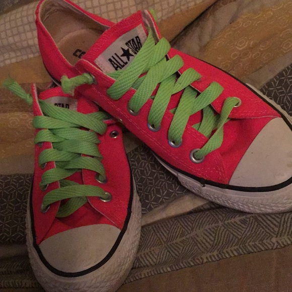 4c64f3caeca453 Converse Shoes - Bright Pink Converse All Stars. Green laces.